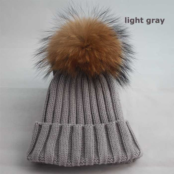 New Design! Real Raccoon Fur Pom Poms Beanie Hat Warm Winter Wool Knitted Bobble Hats for Men or Women - ZOË Products Int'l. - 15