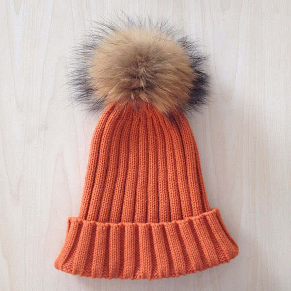 New Design! Real Raccoon Fur Pom Poms Beanie Hat Warm Winter Wool Knitted Bobble Hats for Men or Women - ZOË Products Int'l. - 5