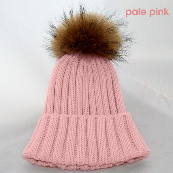 New Design! Real Raccoon Fur Pom Poms Beanie Hat Warm Winter Wool Knitted Bobble Hats for Men or Women - ZOË Products Int'l. - 6