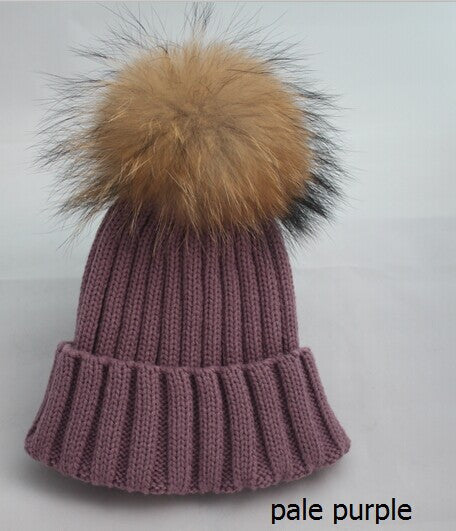 New Design! Real Raccoon Fur Pom Poms Beanie Hat Warm Winter Wool Knitted Bobble Hats for Men or Women - ZOË Products Int'l. - 8