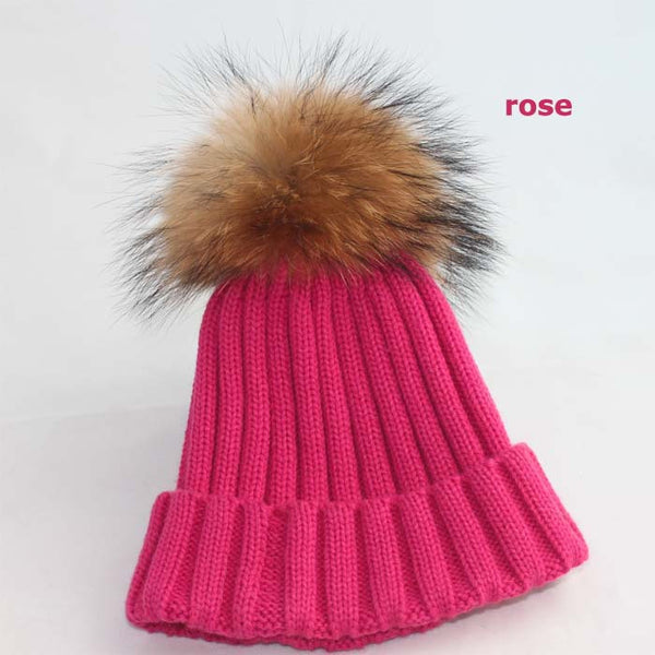 New Design! Real Raccoon Fur Pom Poms Beanie Hat Warm Winter Wool Knitted Bobble Hats for Men or Women - ZOË Products Int'l. - 12
