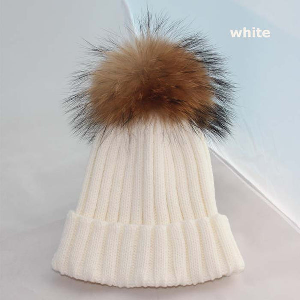 New Design! Real Raccoon Fur Pom Poms Beanie Hat Warm Winter Wool Knitted Bobble Hats for Men or Women - ZOË Products Int'l. - 3