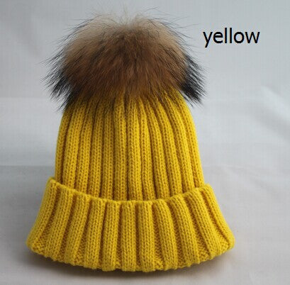New Design! Real Raccoon Fur Pom Poms Beanie Hat Warm Winter Wool Knitted Bobble Hats for Men or Women - ZOË Products Int'l. - 11
