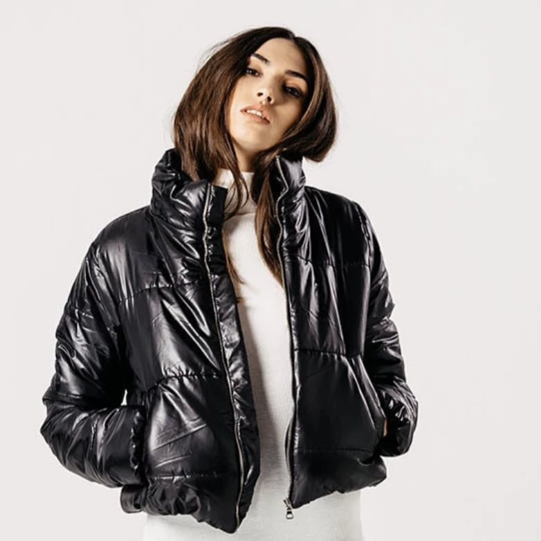 Black Cropped Shine Padded Puffer Jacket