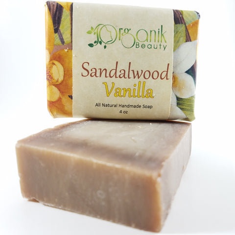 Sandalwood and Vanilla - All Natural Handmade Soap 5 oz - Organik Beauty