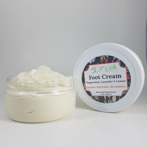 Foot & Body Cream-Peppermint, Lavender & Lemongrass 8 oz - Organik Beauty