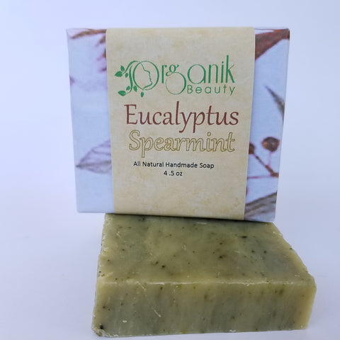 Eucalyptus and Spearmint All Natural Vegan Soap 5 oz - Organik Beauty