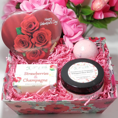 Strawberries & Champagne Valentine Bath and Body Gift Set - Organik Beauty