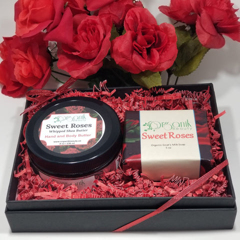 Whipped Shea Body Butter and Handmade Soap Gift Set - Sweet Roses by Organik Beauty