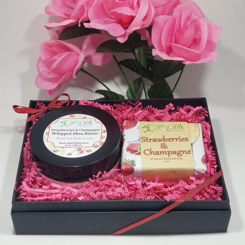 Whipped Shea Body Butter and Handmade Soap Gift Set - Strawberries and Champagne by Organik Beauty