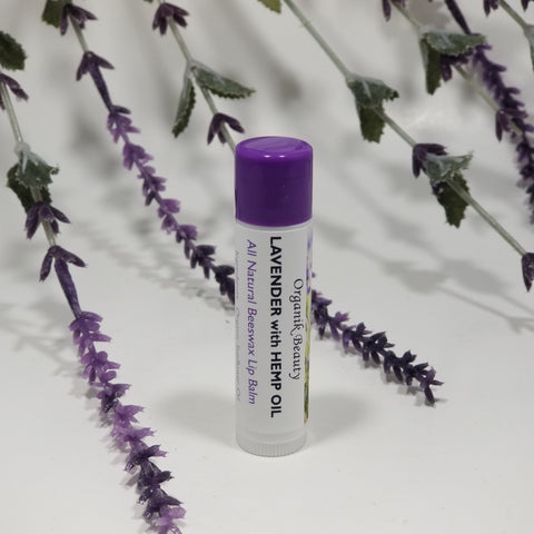 Lavender with Hemp Oil All Natural Beeswax Lip Balm by Organik Beauty