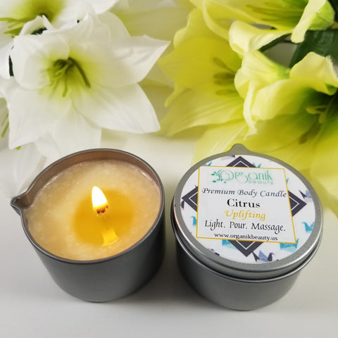 Premium Body Massage Candle - Citrus (Uplifting) - Organik Beauty