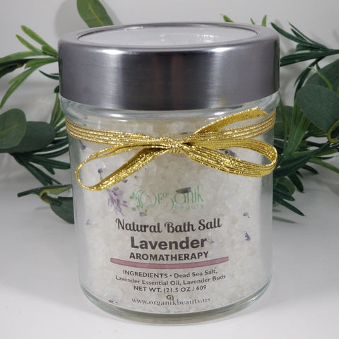 Lavender Scented Natural Bath Salt- For Smooth, Soft, Skin by Organik Beauty