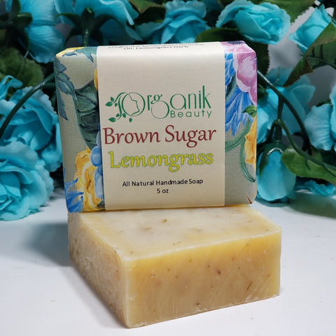 Brown Sugar and Lemongrass - All Natural Handmade Soap 5 oz - Organik Beauty