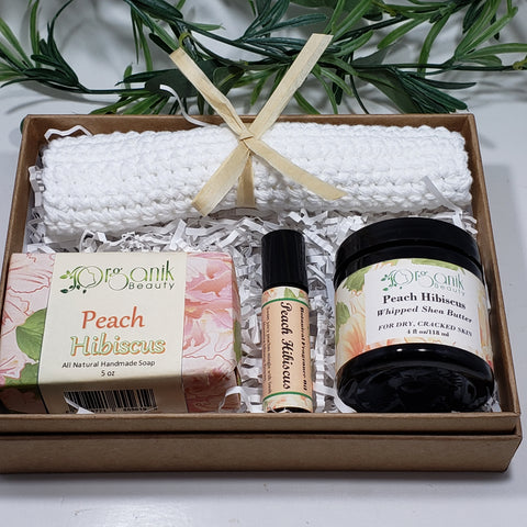 Peach Hibiscus Body Essentials Gift Set - Medium - Organik Beauty