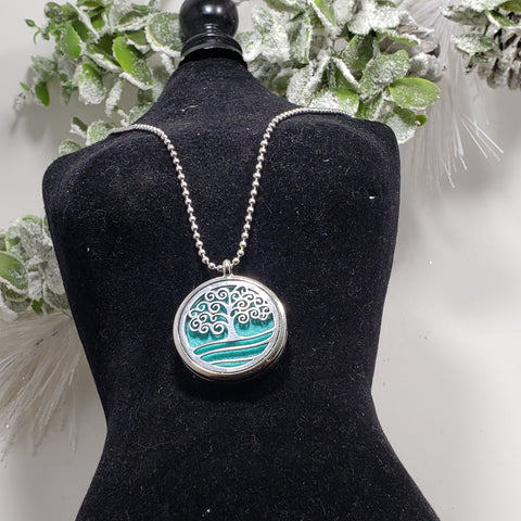 Essential Oil Diffuser Necklace with Tree Locket and Reusable Cotton Pad and Magnetic Closure by Organik Beauty