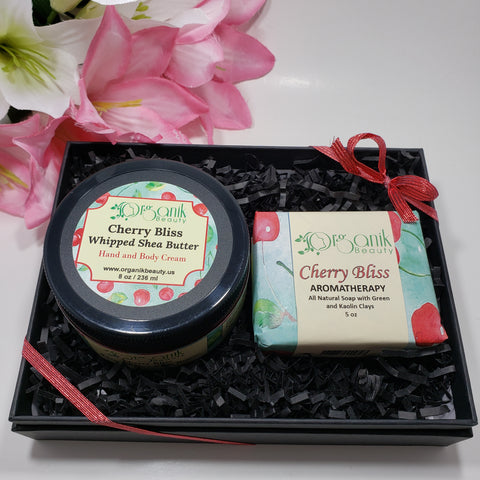 Cherry Bliss Body Butter and Handmade Soap Gift Set by Organik Beauty