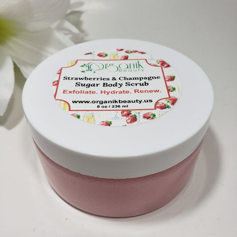 Strawberries and Champagne Whipped Sugar Body Scrub 8 oz by Organik Beauty