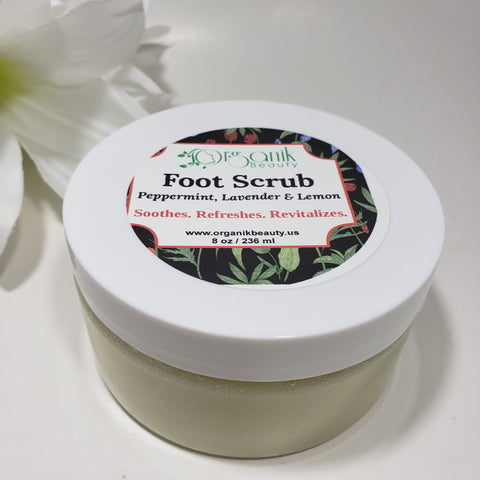 Foot & Body Sugar Scrub-Peppermint Lavender and Lemon 8 oz - Organik Beauty
