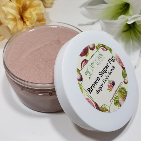 Brown Sugar and Fig Whipped Sugar Body Scrub 8 oz - Organik Beauty