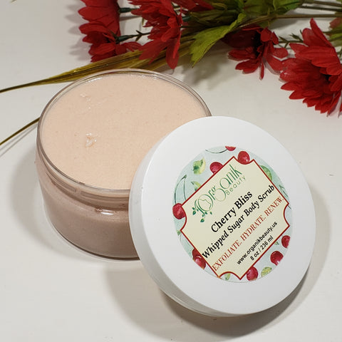 Cherry Bliss Whipped Sugar Body Scrub 8 oz by Organik Beauty