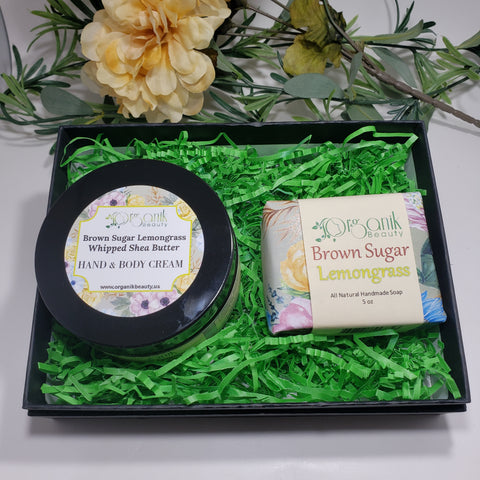 Brown Sugar and Lemongrass Body Essentials Gift Set Small - Organik Beauty