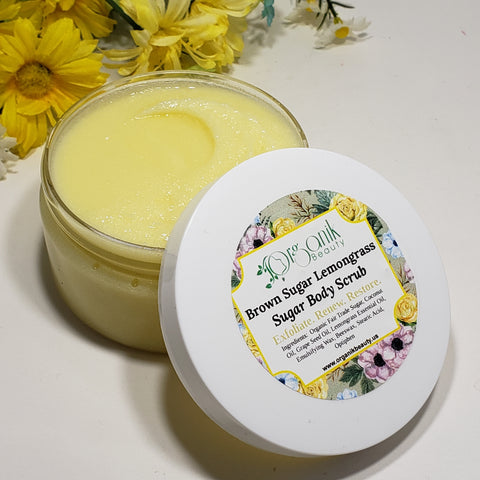 Brown Sugar and Lemongrass Whipped Sugar Body Scrub 8 oz - Organik Beauty