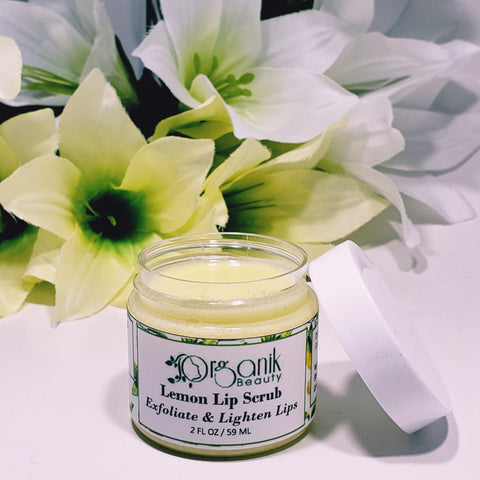 Lemon Lip Scrub 2 oz - Exfoliate and Lighten Dark Lips by Organik Beauty