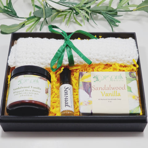Sandalwood and Vanilla Body Essentials Gift Set - Medium - Organik Beauty