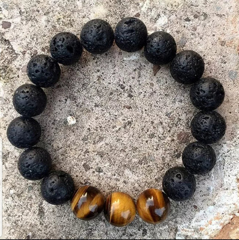 Black Volcanic Lava Stone 3 Tiger Eye Diffuser Bracelet 10 mm
