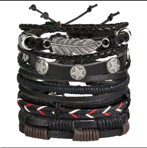 Braided Leather Owl Leaf Bracelet Set - Unisex