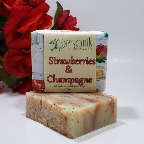 Strawberries and Champagne All Natural Handmade Soap 5 oz - Organik Beauty