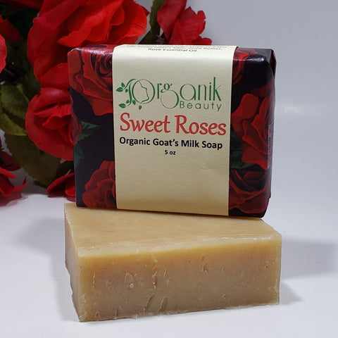 Sweet Roses Organic Goat's Milk Soap 5 oz - Organik Beauty