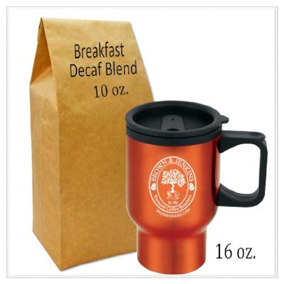 16 oz. travel coffee mug and 10 oz. bag of breakfast decaf blend coffee from brown & jenkins coffee roasters of vermont