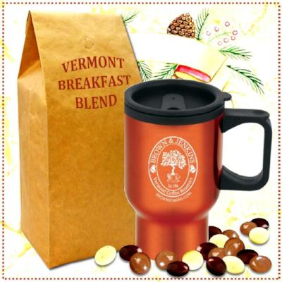 chocolate coffee beans with travel mug and vermont breakfast coffee blend - brown & jenkins - the vermont coffee roasters