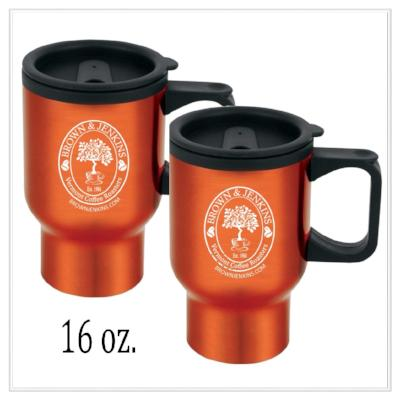 Personalized 16 oz. Travel Coffee Mugs - Brown & Jenkins Coffee Roasters of Vermont
