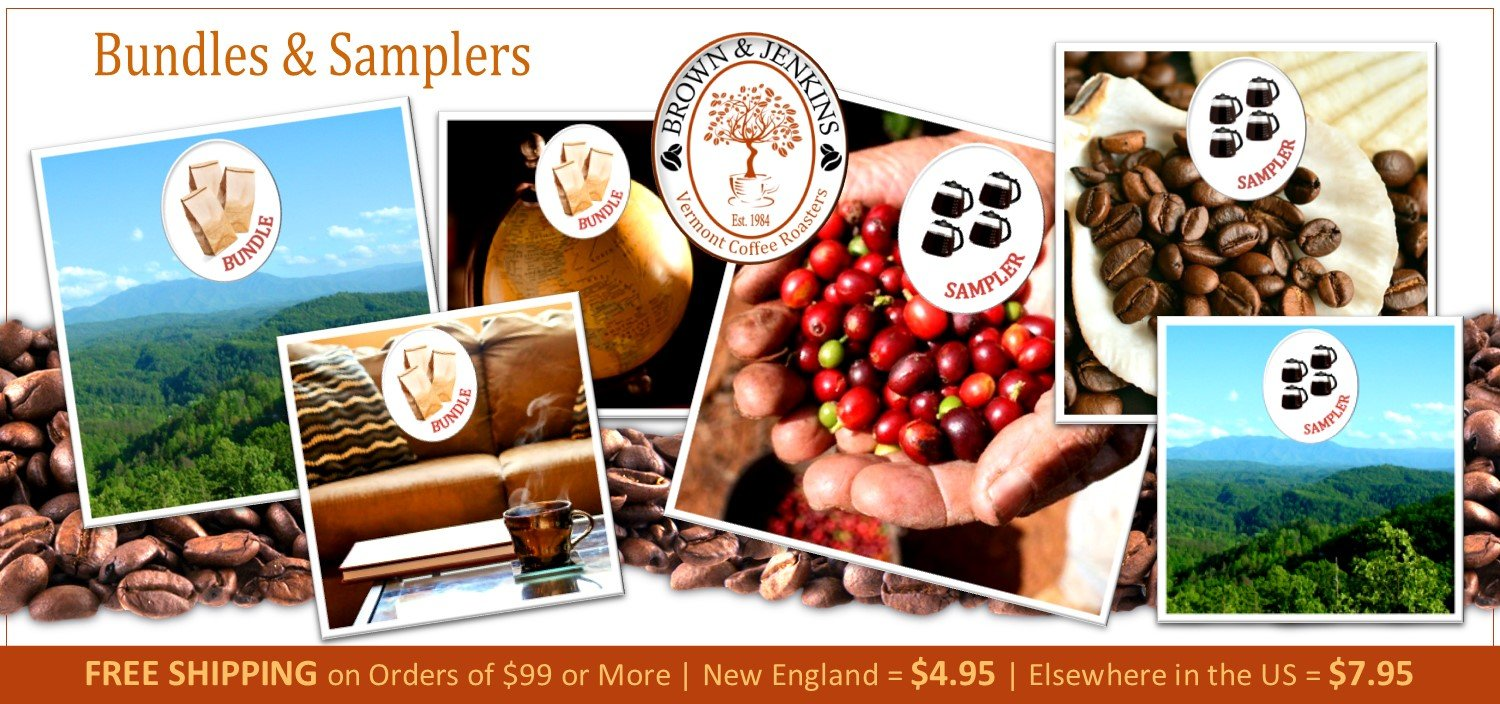 coffee bundles and coffee samplers - Brown & Jenkins - The Vermont Coffee Roasters