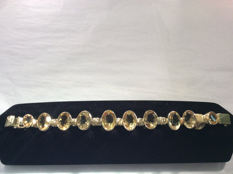 Ladies 14 k gold & citrine bracelet