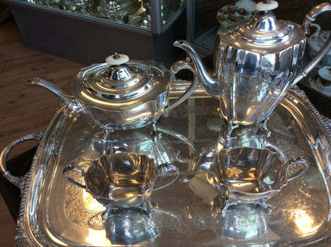 London 4 pc circa 1920 sterling silver tea service