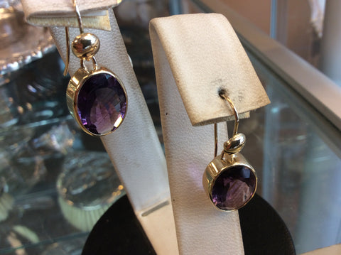 One pair 14 k yellow gold and amethyst , custom made drop earrings