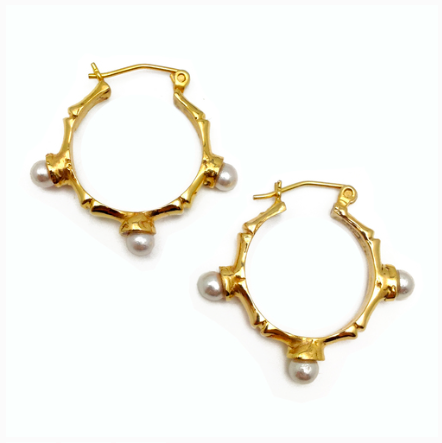 Bamboo and Pearl Hoop Earrings