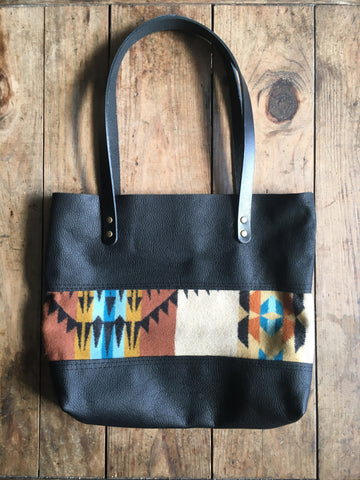 Black Leather and Wool Porter Tote