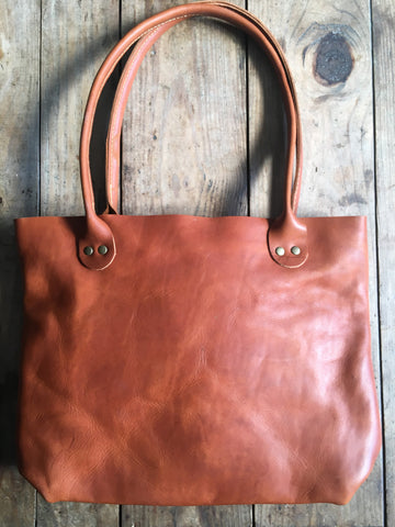 Tan Porter Tote with Copper Rivets