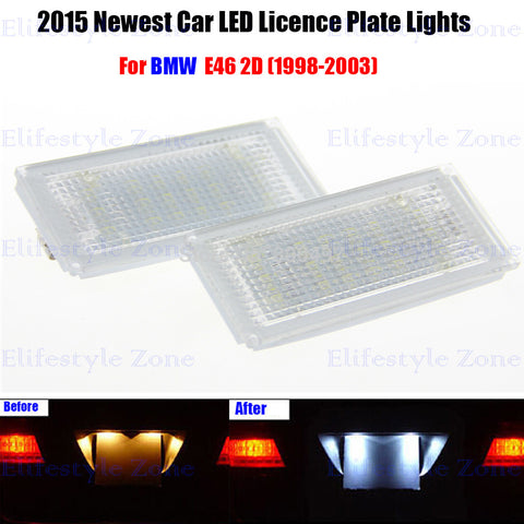 2 x LED Number License Plate Lamps OBC Error Free 18 LED For BMW E46 2D 1998-2003 - MLifeM6