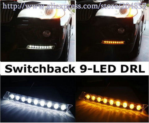 White/Amber DRL Kit 9-Light LED Daytime Running Lamps - MLifeM6