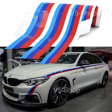 2-Side M-Colored Stripe Car Body Sticker Decal - MLifeM6