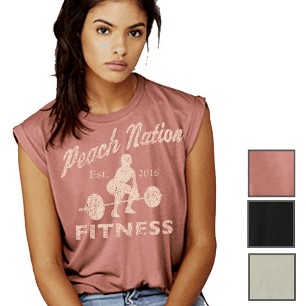 6f4b4a647688e Woman s Flowy Muscle Tee with Rolled Cuff - Peach Nation Fitness ...