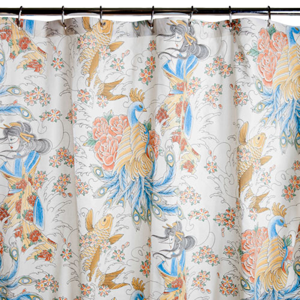 Geisha Garden Tattoo Shower Curtain