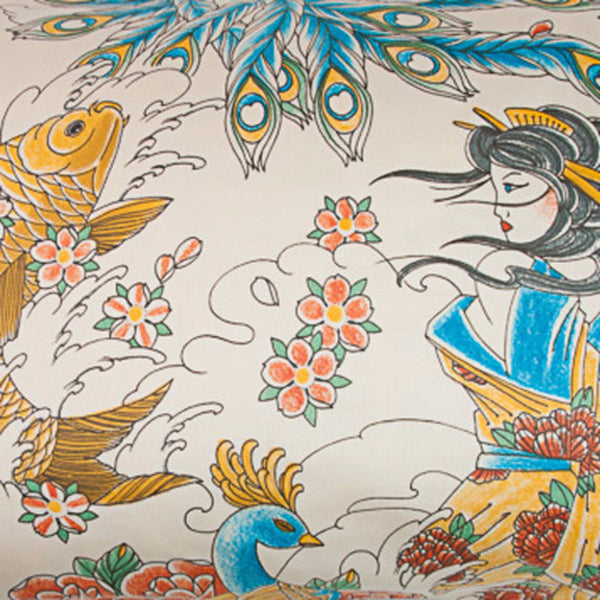 Geisha Garden Tattoo Duvet Cover