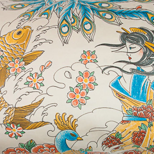 Geisha Garden Tattoo Pillow Cases and Shams